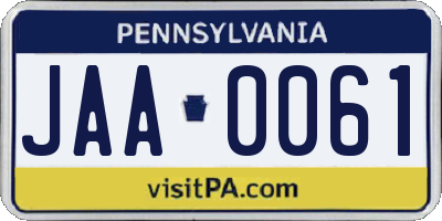 PA license plate JAA0061