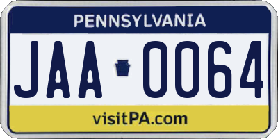 PA license plate JAA0064