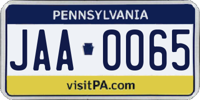 PA license plate JAA0065
