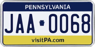 PA license plate JAA0068