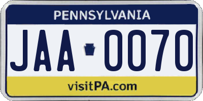 PA license plate JAA0070