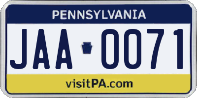 PA license plate JAA0071