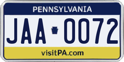 PA license plate JAA0072