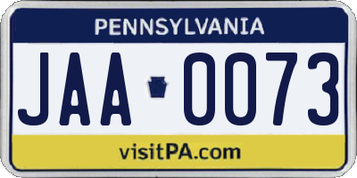 PA license plate JAA0073