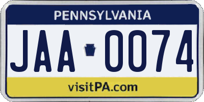 PA license plate JAA0074