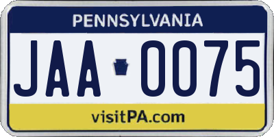 PA license plate JAA0075