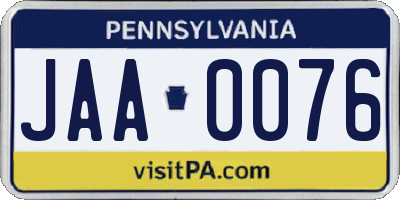 PA license plate JAA0076