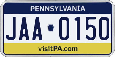 PA license plate JAA0150