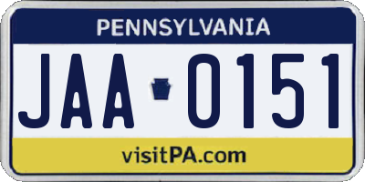 PA license plate JAA0151