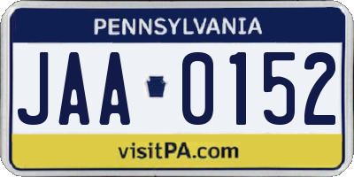 PA license plate JAA0152