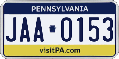 PA license plate JAA0153