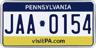 PA license plate JAA0154