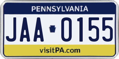 PA license plate JAA0155