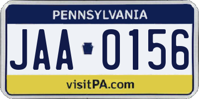 PA license plate JAA0156