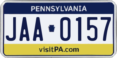 PA license plate JAA0157