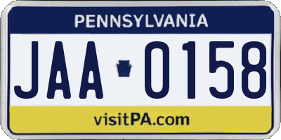 PA license plate JAA0158