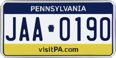 PA license plate JAA0190