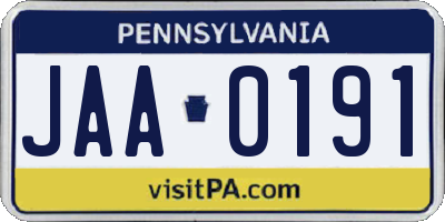PA license plate JAA0191