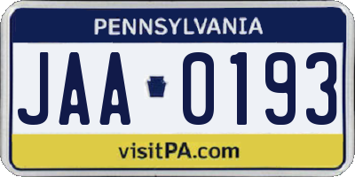 PA license plate JAA0193