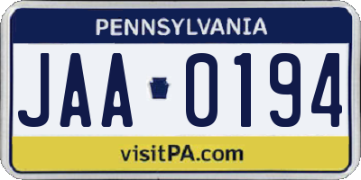 PA license plate JAA0194