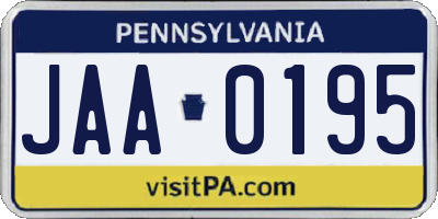 PA license plate JAA0195