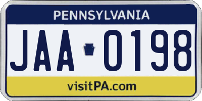 PA license plate JAA0198