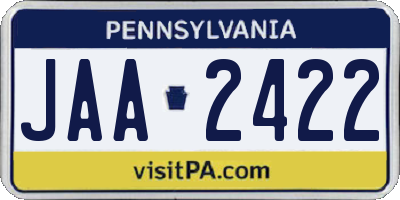 PA license plate JAA2422