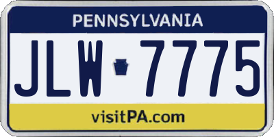 PA license plate JLW7775