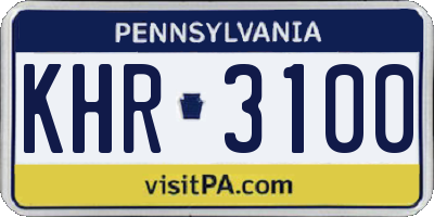 PA license plate KHR3100
