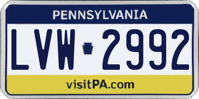 PA license plate LVW2992