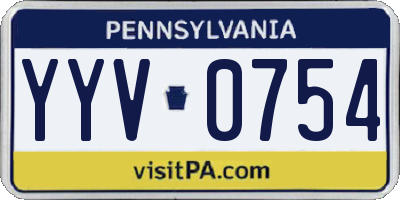 PA license plate YYV0754