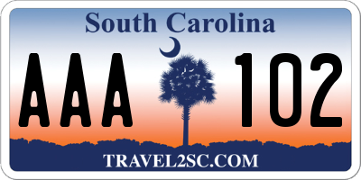 SC license plate AAA102