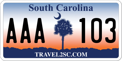SC license plate AAA103