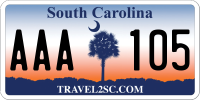 SC license plate AAA105