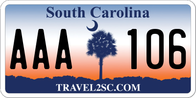 SC license plate AAA106