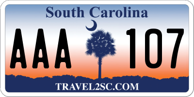 SC license plate AAA107