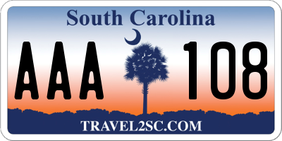 SC license plate AAA108