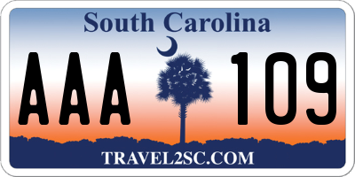 SC license plate AAA109