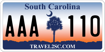 SC license plate AAA110