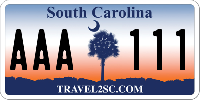 SC license plate AAA111