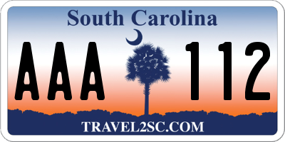 SC license plate AAA112
