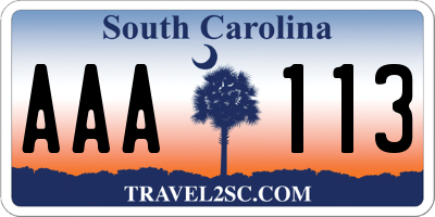 SC license plate AAA113