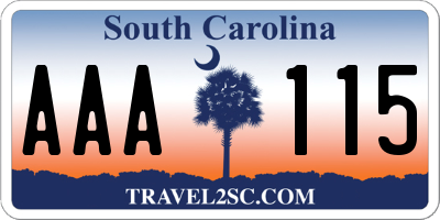 SC license plate AAA115