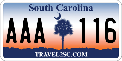 SC license plate AAA116