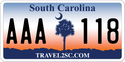 SC license plate AAA118