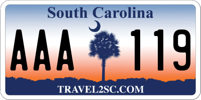 SC license plate AAA119