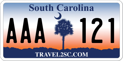 SC license plate AAA121