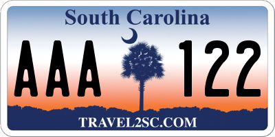 SC license plate AAA122