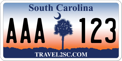 SC license plate AAA123