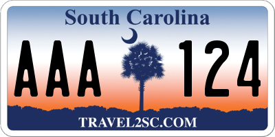 SC license plate AAA124